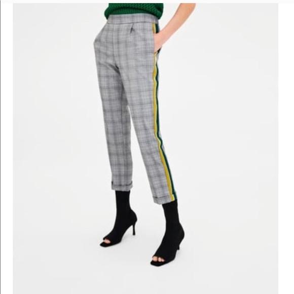 32b9c1f8 Zara plaid checkered side stripe pants NWT